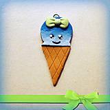 Kľúčenky - Modrá zmrzlina s mašličkou - prívesok/kľúčenka - 7054829_