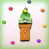 Náhrdelníky - Žmurkajúca pistáciová zmrzlina s lentilkou - prívesok/kľúčenka - 7055309_