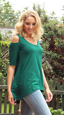 Tričká - Zelené tričko s volnými rameny - 7057042_
