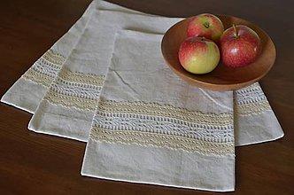 Úžitkový textil - Ľanové vrecká s čipkou - 7056731_