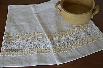 Úžitkový textil - Ľanové vrecká s čipkou2 - 7056762_