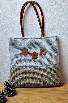 Iné tašky - Háčkovaná taška s koženkovými rúčkami - 7057829_
