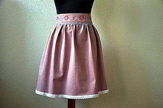 Sukne - Suknica rifľová vyšívaná ružová - 7055982_