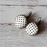 Náušnice - Náušnice na francúzskych háčikoch Čiernobiela bodka - 7055504_