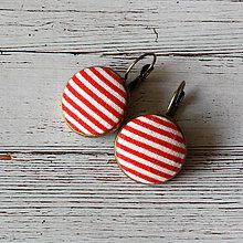 Náušnice - Náušnice na francúzskych háčikoch Červenobiely prúžok - 7055512_