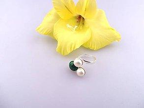 Prstene - perly malachit prsteň strieborný - 7055725_