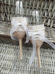 Nádoby - Svadobné poháre juta+čipka - 7059114_