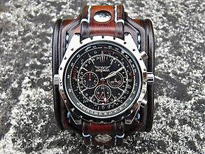 Šperky - Hnedý kožený remienok, mechanické hodinky - 7055647_