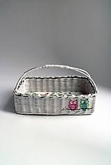 Košíky - Košík papierový - Biely | Sovy - 7057498_