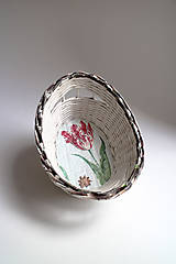 Košíky - Košík papierový - Červený tulipán I | malý biely - 7057799_