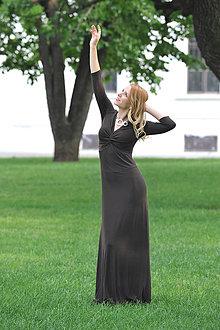 Šaty - Dlhé šaty Anett Bohyňa - čokoládové - 7056121_