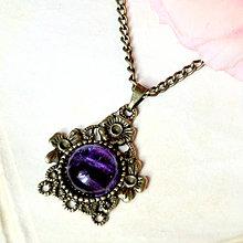 Náhrdelníky - Vintage Fluorite & Flowers / Jemný náhrdelník s fluoritom - 7060852_