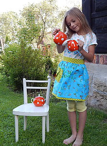 Iné oblečenie - Zástera pre deti - Tyrkys na hrášku - 7059399_