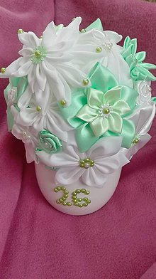Dekorácie - Bielo-tyrkysová saténová ikebana - 7063040_