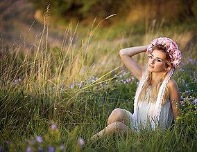 Ozdoby do vlasov - Ružová svadobná kvetinová parta - 7059305_