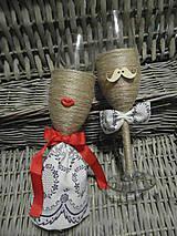 Nádoby - Svadobné poháre Lips & Moustache Folk 3 - 7062697_