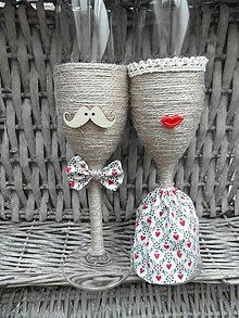 Nádoby - Svadobné poháre Lips & Moustache Folk - 7059529_