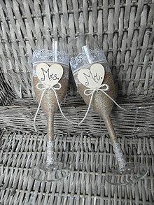 Nádoby - Svadobné poháre Mr & Mrs 2 - 7059541_