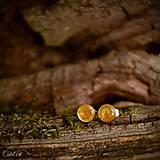 Náušnice - Oranžové slnko - puzetové náušnice - 7062681_