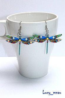 Náušnice - Náušničky vážky modro-zelené :) - 7061759_
