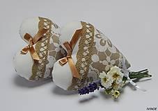 Dekorácie - Srdiečka - bielo béžové - 7059559_