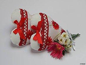 Darčeky pre svadobčanov - Srdiečka - bielo červené - 7059554_