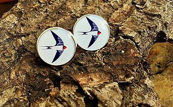 Náušnice - Náušničky s lastovičkami - 7062143_