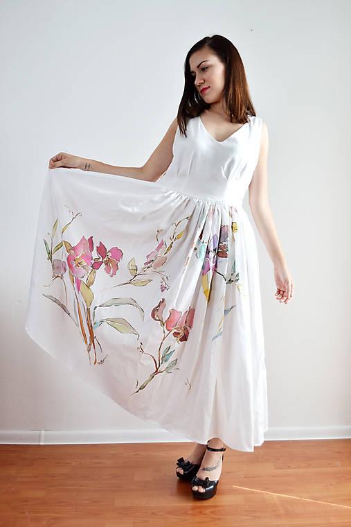 Šaty - Biele šaty ako akvarelom pomaľované  - 7062239_