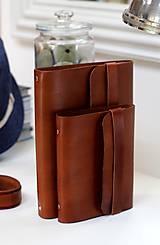 Papiernictvo - Pánsky kožený zápisník / karisblok BROWN A5 (hnedý) - 7065826_