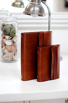 Papiernictvo - Pánsky kožený zápisník / karisblok BROWN A5 - 7065862_