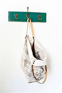Veľké tašky - Casual... obojstranná... #8... Režná & kožené ramienka - 7066655_