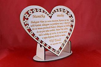 Darčeky pre svadobčanov - Drevene srdiečko ako poďakovanie rodičom 23 - 7066053_