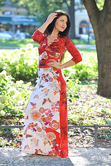 Šaty - Dlhé šaty Anett Bohyňa - kvetinové, vel. S - 7064085_
