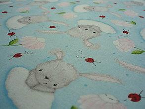 Textil - Bunny Love - tossed bunnies modrá - 7069772_