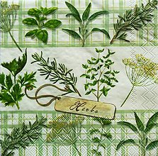 Papier - S763 - Servítky - bylinky, bazalka, herbs - 7069375_