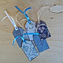 Papiernictvo - Dizajnové etikety - modré - 7067505_