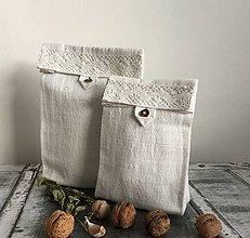 Úžitkový textil - Vrecúško z ručne tkaného ľanu - 7069816_