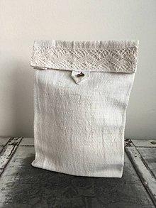 Úžitkový textil - Vrecko na chlieb a pečivo z ručne tkaného ľanu - 7069909_