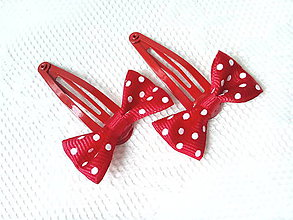 Ozdoby do vlasov - Pin Up hair clips (red/white dots) - 7072784_