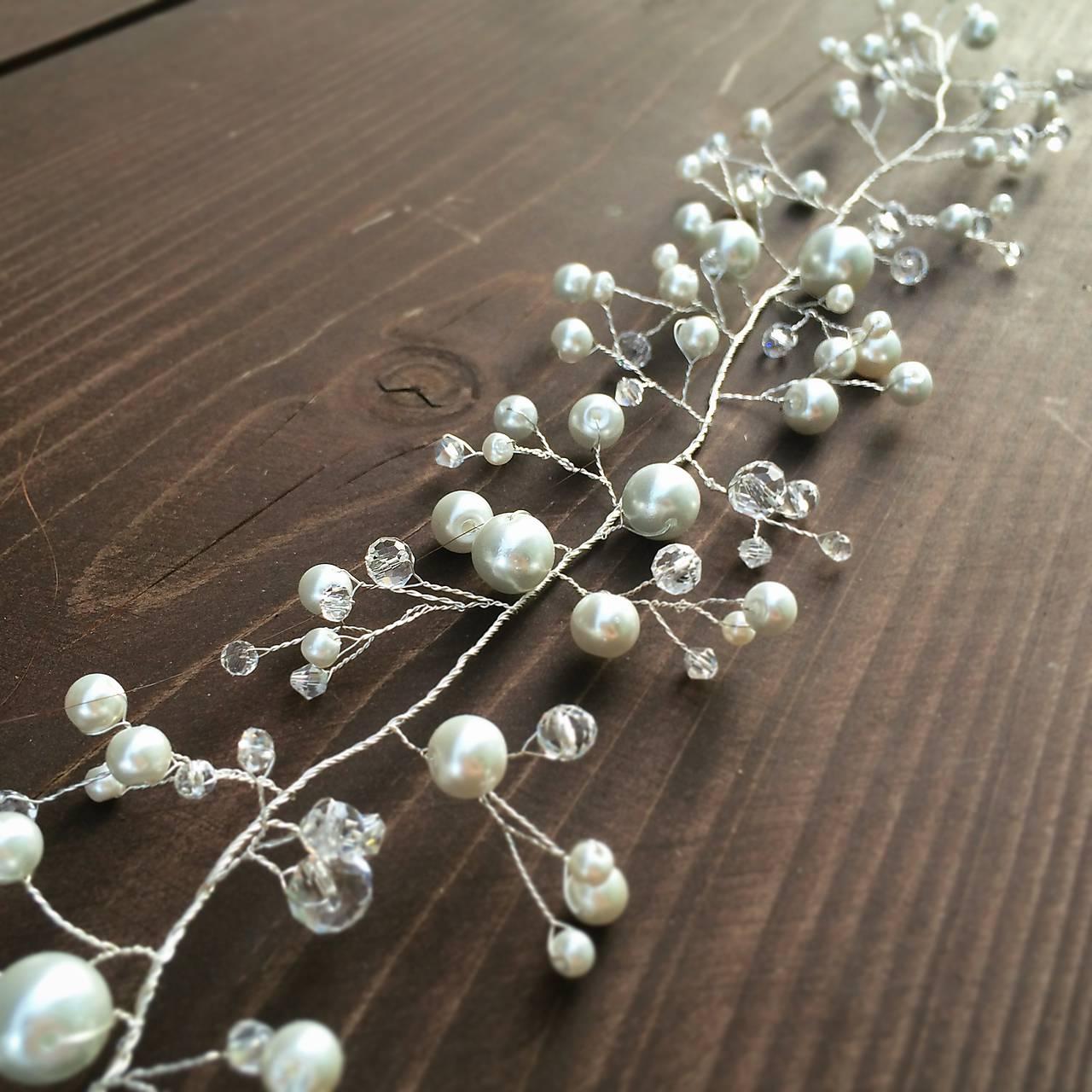 Svadobná mašlička do vlasov (Biela) Svadobný perličkový hrebienok ... 5b408e98d31
