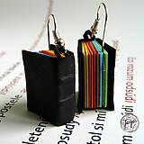Náušnice - Dúhové knižky s čiernym obalom - 7071049_