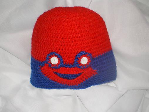 17edc7ed6 Detská červeno-modrá čiapka so žabkou / evsi - SAShE.sk - Handmade ...