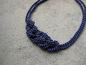 Náhrdelníky - Uzlový náhrdelník z dvoch šnúr (tmavomodrý č. 1968) - 7071288_