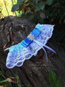 Bielizeň/Plavky - Svadobný podväzok (Bielo modrý) - 7072128_