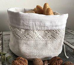 Košíky - Ľanové vrecúško z ručne tkaného ľanu 3v1 - 7072744_
