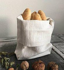 Úžitkový textil - Ľanové vrecko na rožky, bagety a pečivo - 7072820_