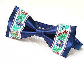 Doplnky - Slovak folklore bow tie (royal blue/white) - 7074916_