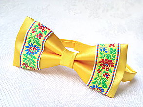Doplnky - Slovak folklore bow tie (yellow) - 7074959_