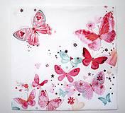 - Servítka D11-  Ružové motýle - 7076041_