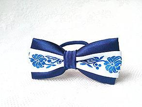 Ozdoby do vlasov - Slovak folklore hair bow (royal blue/white) - 7077956_